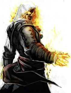 An agent of Kojin a rider of the fire god. Fantasy Characters, Character Art, Ghost Rider, Cool Pictures, Assassins Creed Art, Fantasy Creatures, Ghost, Pictures, Dark Fantasy Art