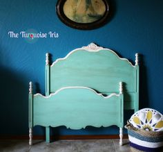 Vintage Twin Bed for Girls Room in Mint Green by TheTurquoiseIris, $325.00