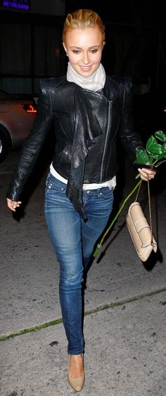 Hayden Panettiere cute pair of jeans with fitted jacket and scarf. perfect for pear shape bodz