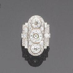 An Art Deco diamond dress ring, c1930. (Bonham's)