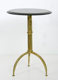 """Belvedere Side Table Iron with gold leaf finish and beveled black marble top 16"""" diameter, 23.5""""H"""