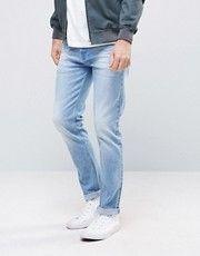 ASOS Selvedge Skinny Jeans In Light Blue Neppy Fabric