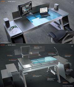 Bu masa konsepti özellikle dizüstü bilgisayar, masaüstü kullanımı ve eskiz ve depolama için yer ihtiyacı olan kişiler için tasarlanmıştır.  Onun yaratıcı tasarım şık ve pratiktir.