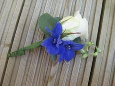 blue delphinium buttonhole
