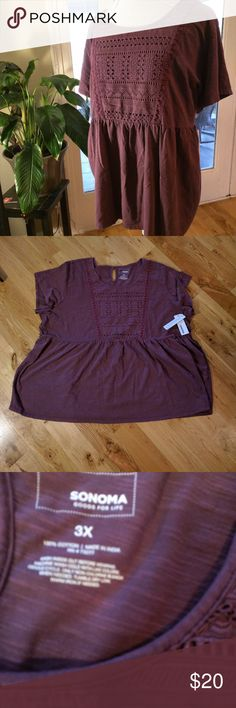 Sonoma Peplum Top Sonoma 3x purple peplem top, NWT, great with jeans or easily can be dressed up for work. 28 inch under arm to under arm, 28 inches long. Sonoma Tops