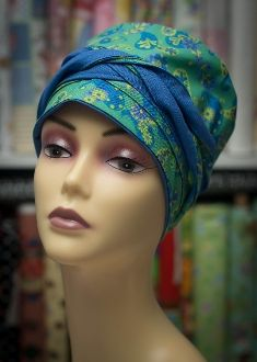 CapDiva Courage Cap REVERSIBLE Purplish Blue & PAISLEY Chemo Cancer Alopecia Hat