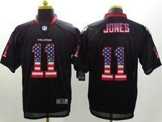 2014 New Nike Atlanta Falcons 11 Jones USA Flag Fashion Black Elite Jerseys