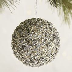 Silver Beaded Ball Ornament | Pier 1 Imports