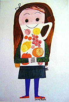 """Mary Blair  stickersandstuff.blogspot.com Esto lo puedo usar para """"somos lo que comemos"""""""