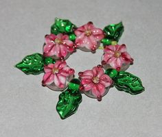Lampwork Glass Pink Star Flower Set by HoneyBearBeads on Etsy (Craft Supplies & Tools, Jewelry & Beading Supplies, Beads, lampwork, floral, flowers, jewelry, annealled sra, bhv team, focal pendant, set, embellishment, pink star, leaves leaf)