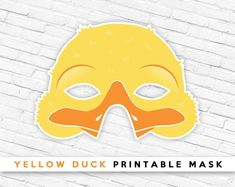 Yellow Duckling Printable Bird Mask, Yellow # #printablemask #partymask #animalmask #cutemask #kids #duckmask #yellowduckmask #birdmask #ducklingmask #duckling #farmanimal #eastermask #easter Printable Halloween Masks, Printable Masks, Printables, Duck Mask, Animal Themed Birthday Party, Easter Play, Bird Masks, Last Minute Costumes, Paper Mask