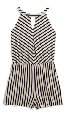 Black and white striped knit romper. I love this halter top romper!!! Stitch Fix Spring/summer fashion inspiration. Try best clothing subscription company. You can use these pins to help your stylist better understand your personal sense of style. Click on the picture to get started. #sponsored #StitchFix