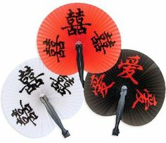 """Chinese Character Fans (1 dz) by Fun Express. $3.80. Measures 10 1/4"""". 1 Dozen. Paper. Anyone attending your Asian themed party will love these oriental fans. These fans are also a great addition to any Bachelorette party to give the bride-to-be a more exotic feel."""
