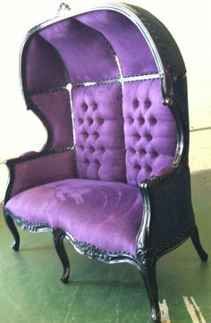 Old School gothic, tufted,  purple chair and a half.