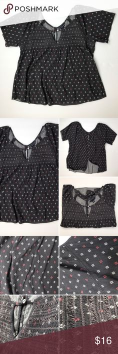 American Eagle outfitters Beautiful medium blouse by American Eagle outfitters gray with cute little red and white pattern design. Please see photos for tags for size, washing instructions and materials. American Eagle Outfitters Tops Blouses