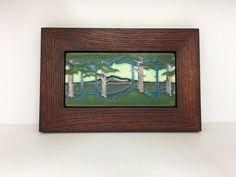 Motawi Prairie Star Art Tile in a Family Woodworks Oak Park Arts /& Crafts Frame