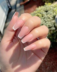 Acrylic Nails Coffin Short, Simple Acrylic Nails, Square Acrylic Nails, Pink Acrylic Nails, Coffin Shape Nails, Pink Nails, French Acrylic Nails, Pink Acrylics, Acrylic Nail Designs