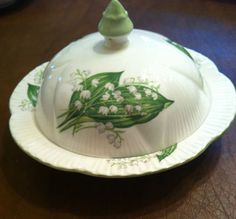 RARE Dainty Shelley Lilly of The Valley Covered Muffin Butter Dish Mint | eBay