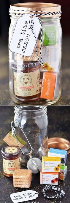 Homemade DIY Gifts in A Jar Best Mason Jar Cookie Mixes and Recipes, Alcohol Mixers Fun Gift Ideas for Men, Women, Teens, Kids, Teacher, Mom. Christmas, Holiday, Birthday and Easy Last Minute Gifts Tea Time Mason Jar Gift http://diyjoy.com/diy-gif