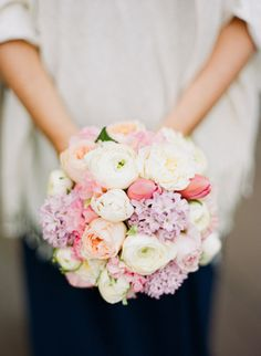 A bouquet with tulips and lilacs... beautiful for Easter if not for a wedding or other special occasion.