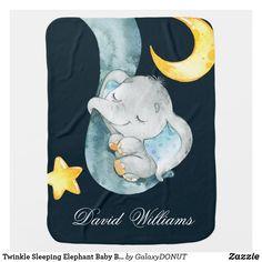 Twinkle Sleeping Elephant Baby Boy Monogram Custom Baby Blanket Baby Boy Monogram, Nursery Monogram, Baby Elephant Nursery, Elephant Blanket, Patchwork Baby, Soft Baby Blankets, Baby Boy Gifts, Nursery Decor, Bedroom Decor