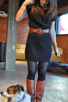 Patterned tights + matching belt and boots love it, would wear black sweater dress with longer sleeves though