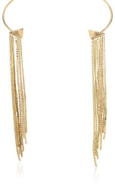 "Gold-Tone Chain Fringe Collar Necklace, 14"" ** See this awesome image…"