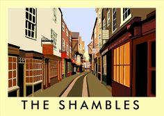 'The Shambles' Graphic Art East Urban Home Format: No Frame, Size: 40 cm H x 50 cm W x 1 cm D Posters Uk, Railway Posters, Painting Prints, Art Prints, Vintage Travel Posters, Poster Vintage, State Art, Framed Wall Art, Graphic Art