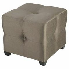 """Tufted cube ottoman with exposed feet and taupe upholstery. Product: OttomanConstruction Material: MDF, solid wood and fabricColor: TaupeDimensions: 18"""" H x 20"""" W x 20"""" DCleaning and Care: Wipe clean with dry or damp cloth"""