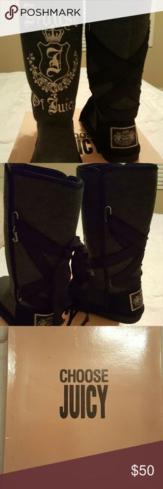 Juicy Couture boots Black and gray Lace up ribbon Size 8 In box Juicy Couture Shoes Winter & Rain Boots