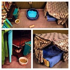 Make your own guinea pig sized cabana: cut fleece into strips and tie an extra…