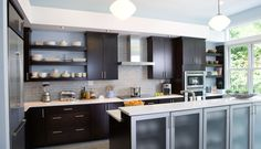 Love almost everything - except the bar would need to be eat at instead of glass front cabinets. Cabinets And Countertops, White Countertops, Kitchen And Bath, New Kitchen, Awesome Kitchen, Cabinets Direct, Brown Kitchens, Modern Kitchens, Kitchen Gallery