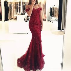 Mermaid Off-the-Shoulder Dark Red Tulle Prom Dress with Beading Appliques