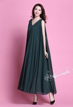 e485c41ef375 110 Colors Chiffon Dark Green Long Party Dress Evening Wedding Sundress  Maternity Dress Summer Beach Dress Bridesmaid Dress Maxi Skirt