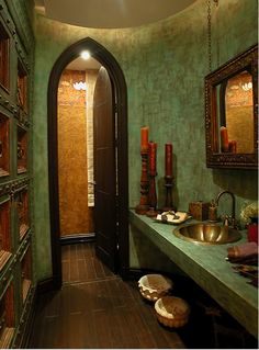 Love the tile and exoticism, esp for main bathroom! Like the gold & green mix.... Though green in a slightly darker tone?