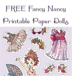 FREE Fancy Nancy Printable Paper Dolls! #paper #dolls