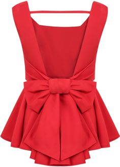 Bow peplum top #top #peplum #red