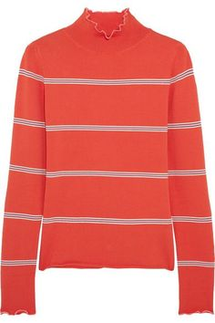 Topshop Unique - Margot Striped Stretch-knit Turtleneck Top - Red - small