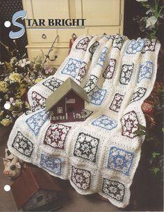 ╭✿✿╯Padrão Afegão Clássica Cobertor Crochê Estrelas itens decorativos Criações -  /  ╭✿✿╯Pattern Vintage Afghan Blanket Crochet Star Knacks Creations -