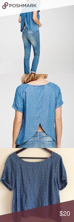 Size Large Tulip Back Chambray Top Blue contemporary Tulip back chambray top. Life in Progress. Size large. Forever 21 Tops Blouses