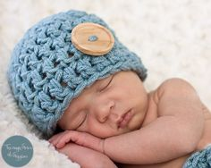 Baby Boy Button Hat Crochet  Blue Newborn Photo Prop