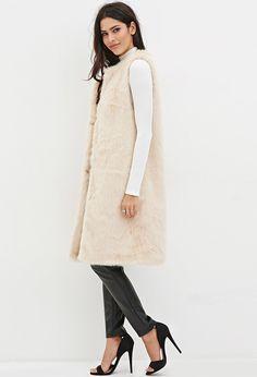 FOREVER 21 Longline Faux Fur Vest - $25.99