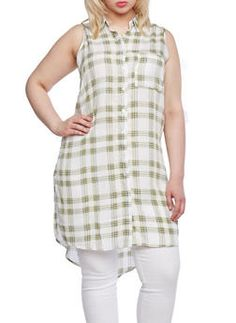 Plus Size Plaid Tunic Top with Side Slits and High Low Hem,SAGE/OLIVE