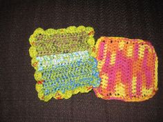 Another easy PLARN (plastic bag yarn) project: crocheted dishrags. Chain 20. sc 2 rows, dc 2 rows and repeat. I added a scallop stitch trim on the Left (4 dc in one stitch, then slip stitch and repeat). Measures 8 x8 in. app. I used green yarn and various colored plarn crocheted together. One on the R is only yarn. Think I'll add plarn scallop edge so it can scrub better.