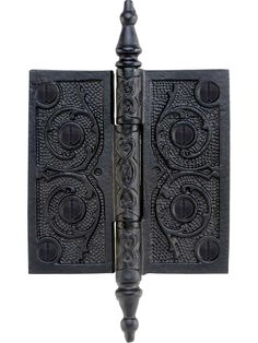 House of Antique Hardware Cast Iron 3 Steeple Tip Hinge with Decorative Vine Pattern in Matte Black