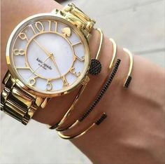 Love this Kate Spade watch stacked with matching bracelets,