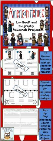 Does your class research famous Americans? Try out an interactive biography lap book! These resources work well in an interactive notebook too. Open for use with any biography. Works perfectly for Wax Museum Projects!