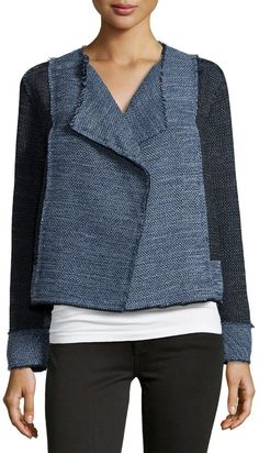 Derek Lam 10 Crosby Basketweave-Knit Two-Tone Jacket, Denim/Indigo