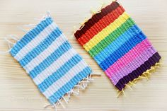 Colorful Woven Coasters DIY by Zoom Yummy cae926027eda