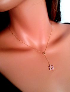 Star of David Necklace Rose Pink Swarovski by divinitycollection, $75.00